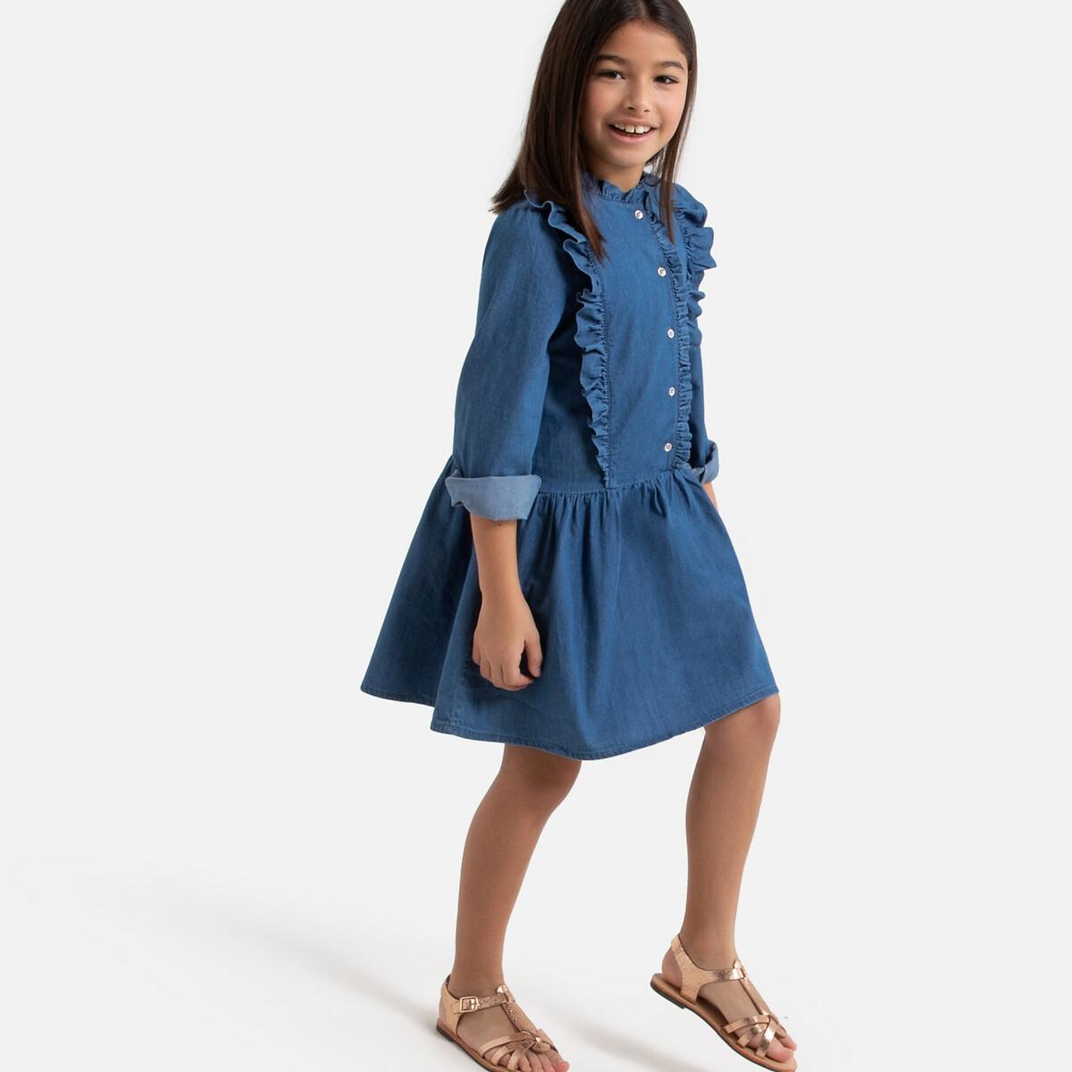 Платье LaRedoute Из джинсовой ткани с воланами 3-12 лет 3 года - 94 см синий