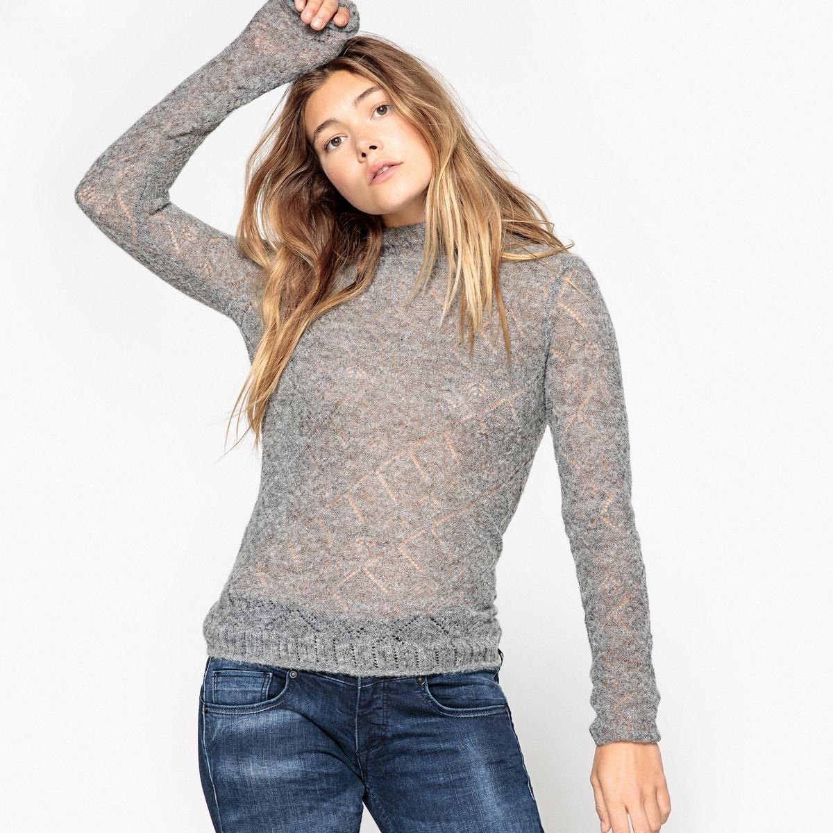 Пуловер LYCIAОписаниеДетали •  Длинные рукава •  Воротник с отворотом •  Тонкий трикотажСостав и уход •  44% полиамида, 42% шерсти, 14% альпаки •  Следуйте советам по уходу, указанным на этикетке<br><br>Цвет: серый