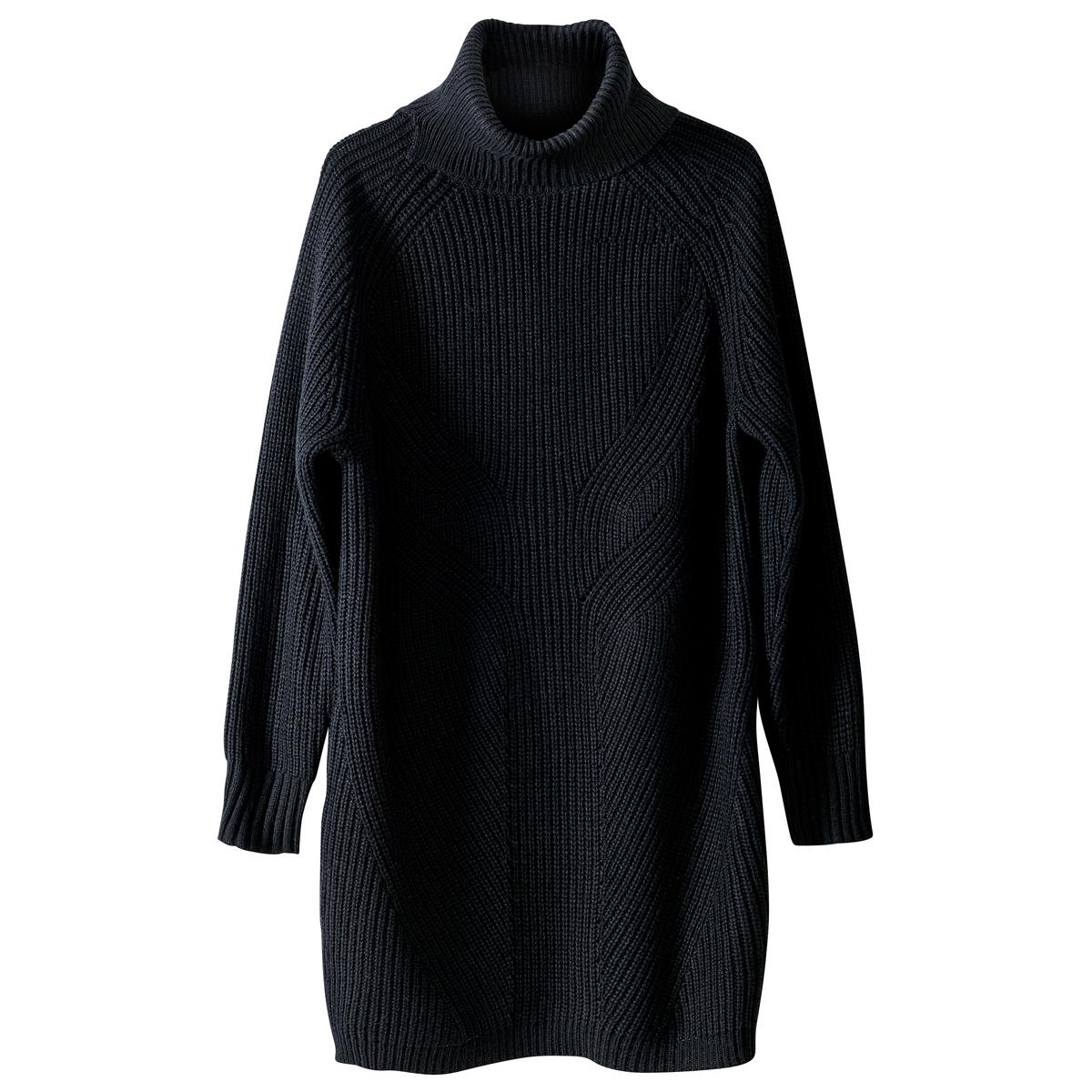 Платье-пуловер средней длины, однотонное, с длинными рукавамиДетали •  Форма : платье-пуловер •  Длина до колен •  Длинные рукава    •  Воротник с отворотомСостав и уход •  22% шерсти, 33% акрила, 5% альпаки, 40%  полиамида •  Температура стирки 30° на деликатном режиме   •  Сухая чистка и отбеливание запрещены    •  Не использовать барабанную сушку   •  Не гладить<br><br>Цвет: серый меланж,черный<br>Размер: M.L