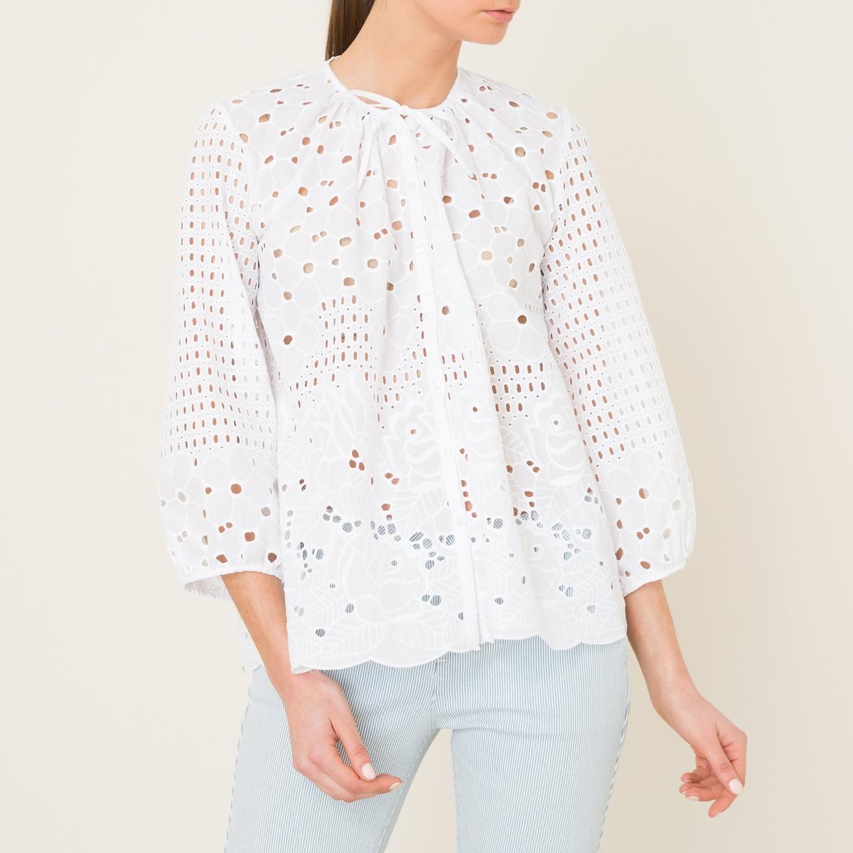 Рубашка THALРубашка VALERIE KHALFON - модель THAL из английского шитья . Круглый вырез с завязками . Застежка на пуговицы спереди. Длинные рукава с напуском и манжетами-браслетами . Волнистый низ. Состав и описание    Материал : 100% хлопок   Марка : VALERIE KHALFON<br><br>Цвет: белый