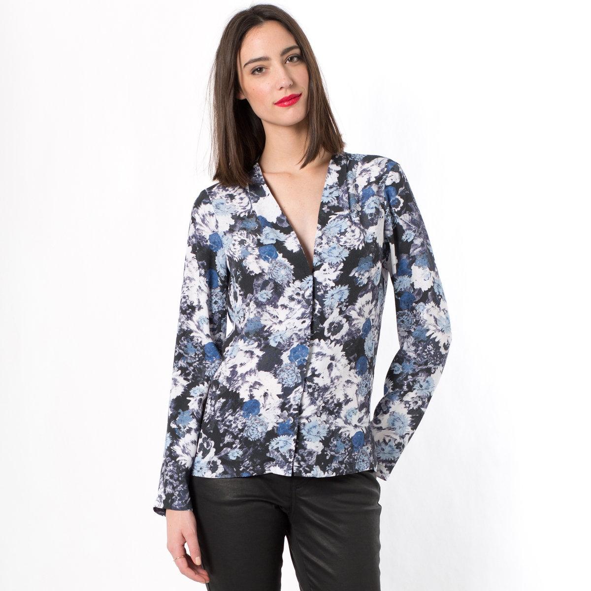 Блузка с длинными рукавами100% вискозы<br><br>Цвет: рисунок цветочный/синий<br>Размер: 40 (FR) - 46 (RUS)