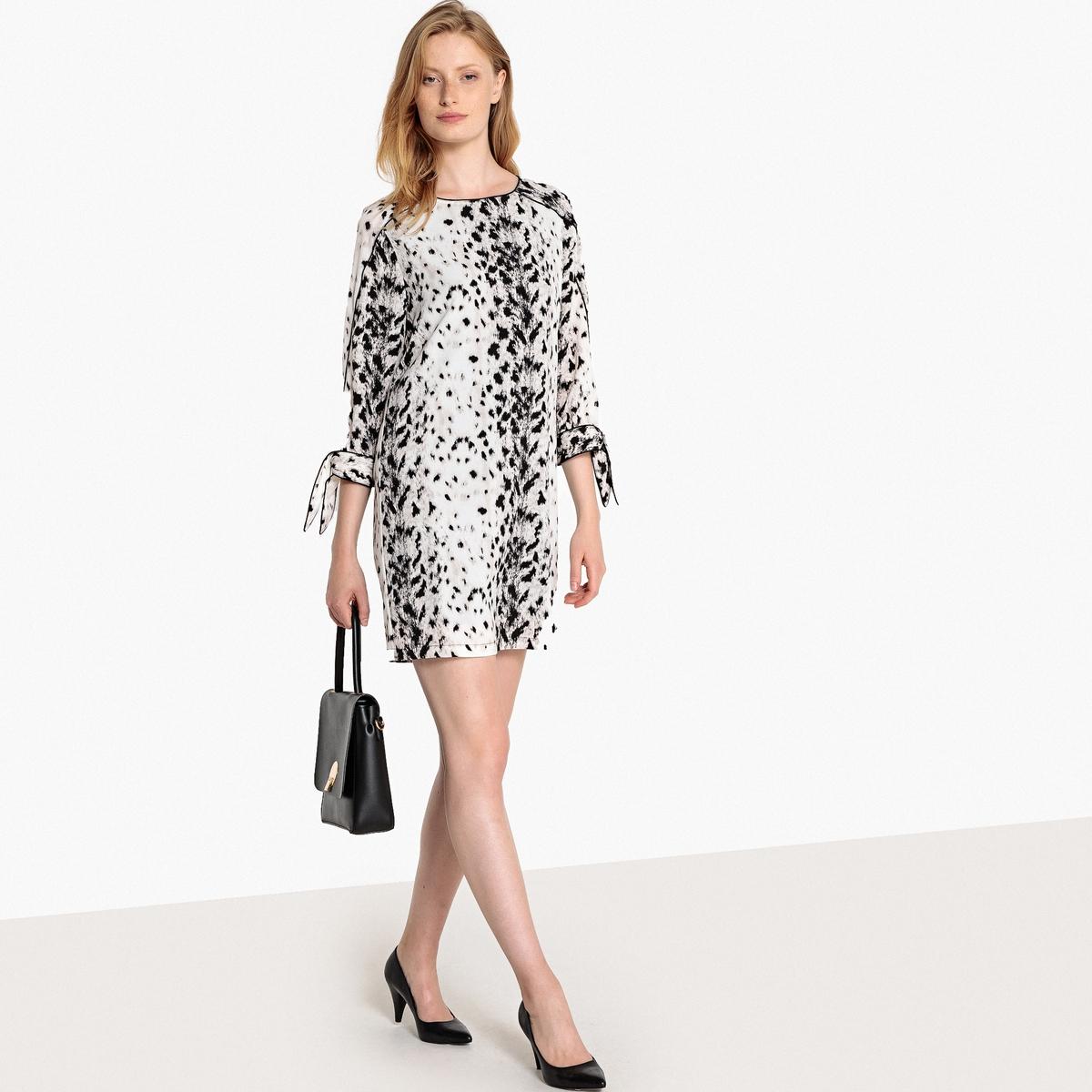 Платье с леопардовым рисунком, манжеты на завязках жакет с леопардовым рисунком
