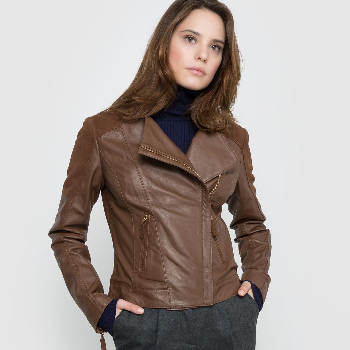 Блузон из кожи в байкерском стиле блузон кожаный в байкерском стиле