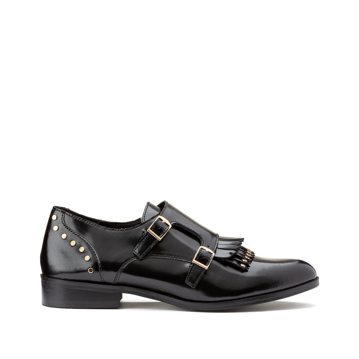 Ботинки-дерби LaRedoute Кожаные с бахромой и заклепками 36 черный