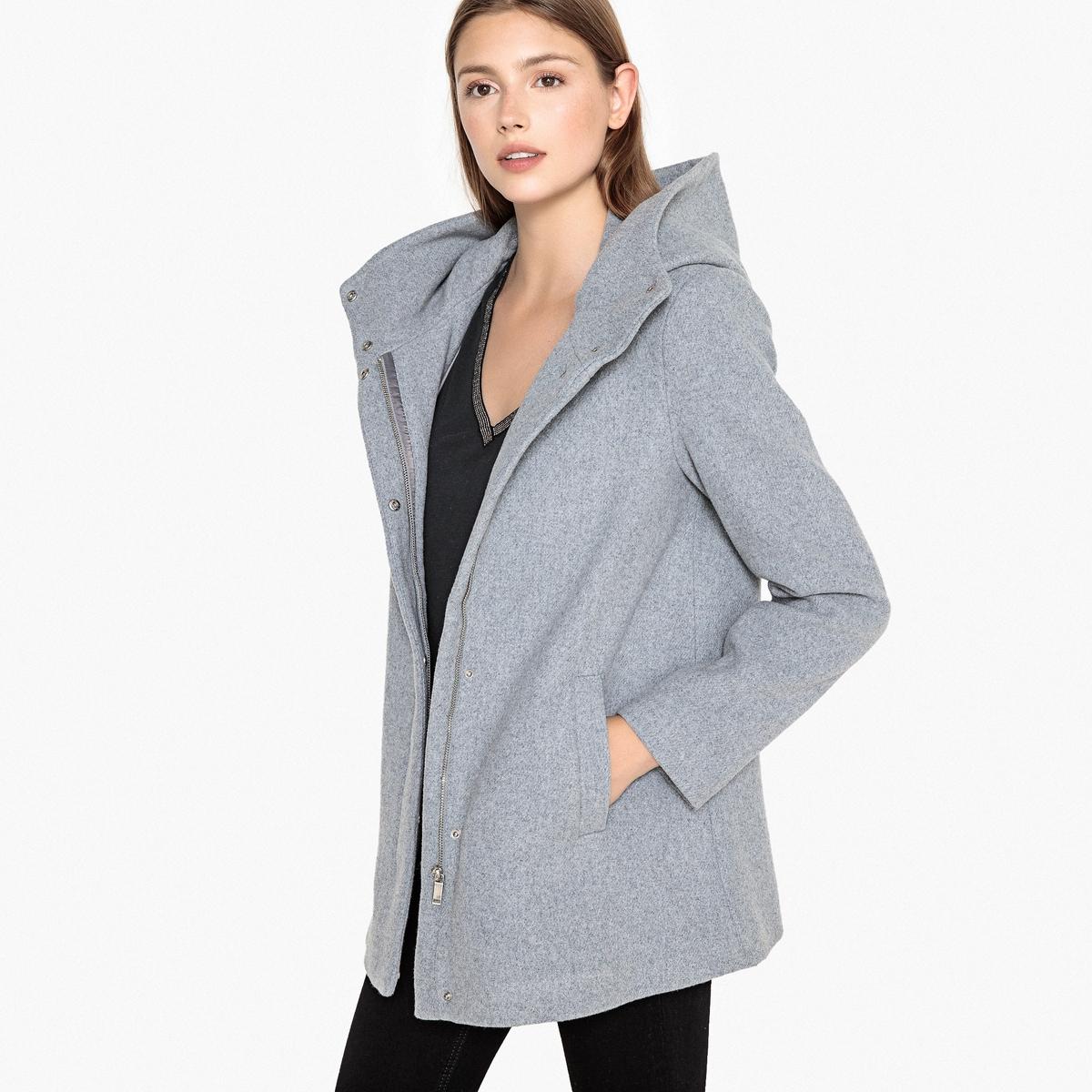 Пальто с воротником-стойкой из шерстяного драпа пальто с эффектом шерстяного драпа