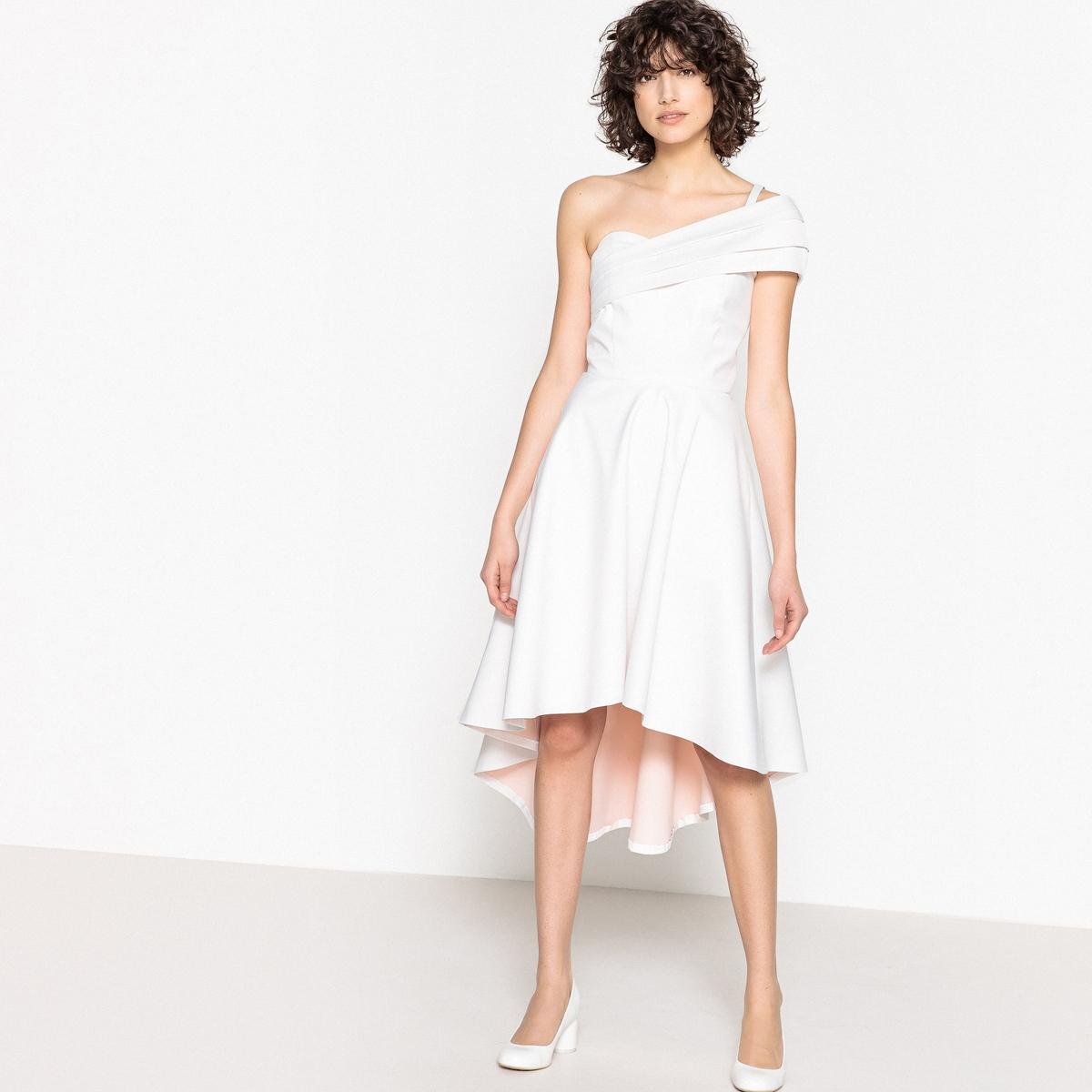 Платье La Redoute Свадебное с одним открытым плечом и бантом сзади 34 (FR) - 40 (RUS) белый свадебное платье zsc 100pthd lygh29
