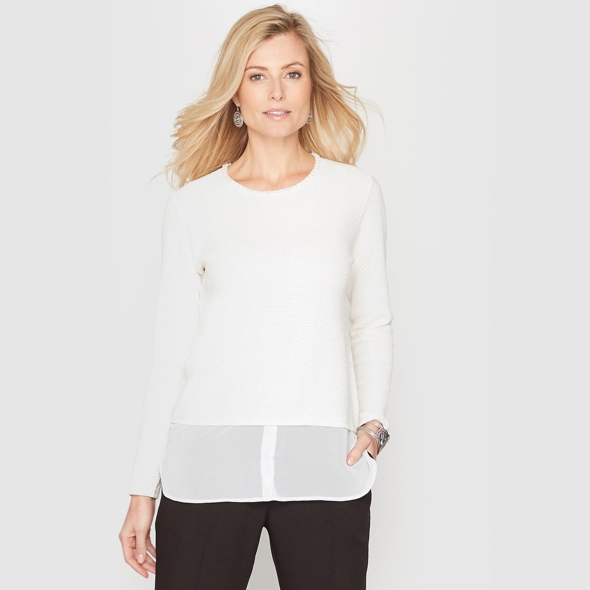 Пуловер-туника, эффект 2 в 1Женственный блестящий пуловер. Фантазийный трикотаж 2 в 1. Круглый вырез, украшенный бусинами.Рубашечный низ из полиэстеровой вуали, застежка на пуговицы. Прспушенные плечевые швы. Длинные рукава, края в рубчик.  Длина. 68 см. Джерси, 50% хлопка, 50% акрила.<br><br>Цвет: коралловый,серый жемчужный,экрю<br>Размер: 50/52 (FR) - 56/58 (RUS).38/40 (FR) - 44/46 (RUS).42/44 (FR) - 48/50 (RUS)