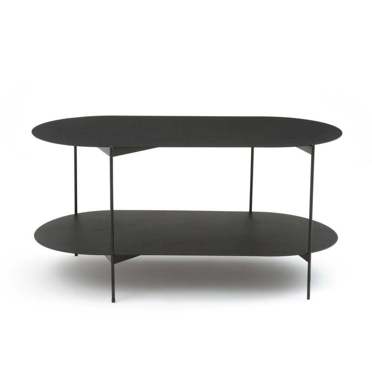 Столик La Redoute Журнальный стальной с двойной столешницей OBLONE единый размер черный