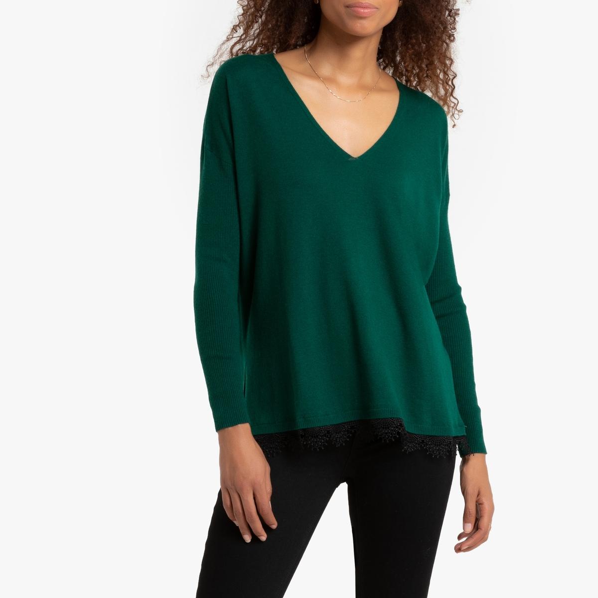 Пуловер La Redoute С V-образным вырезом и отделкой кружевом внизу Moppa M зеленый комбинезон la redoute с брюками с v образным вырезом и отделкой кружевом l черный