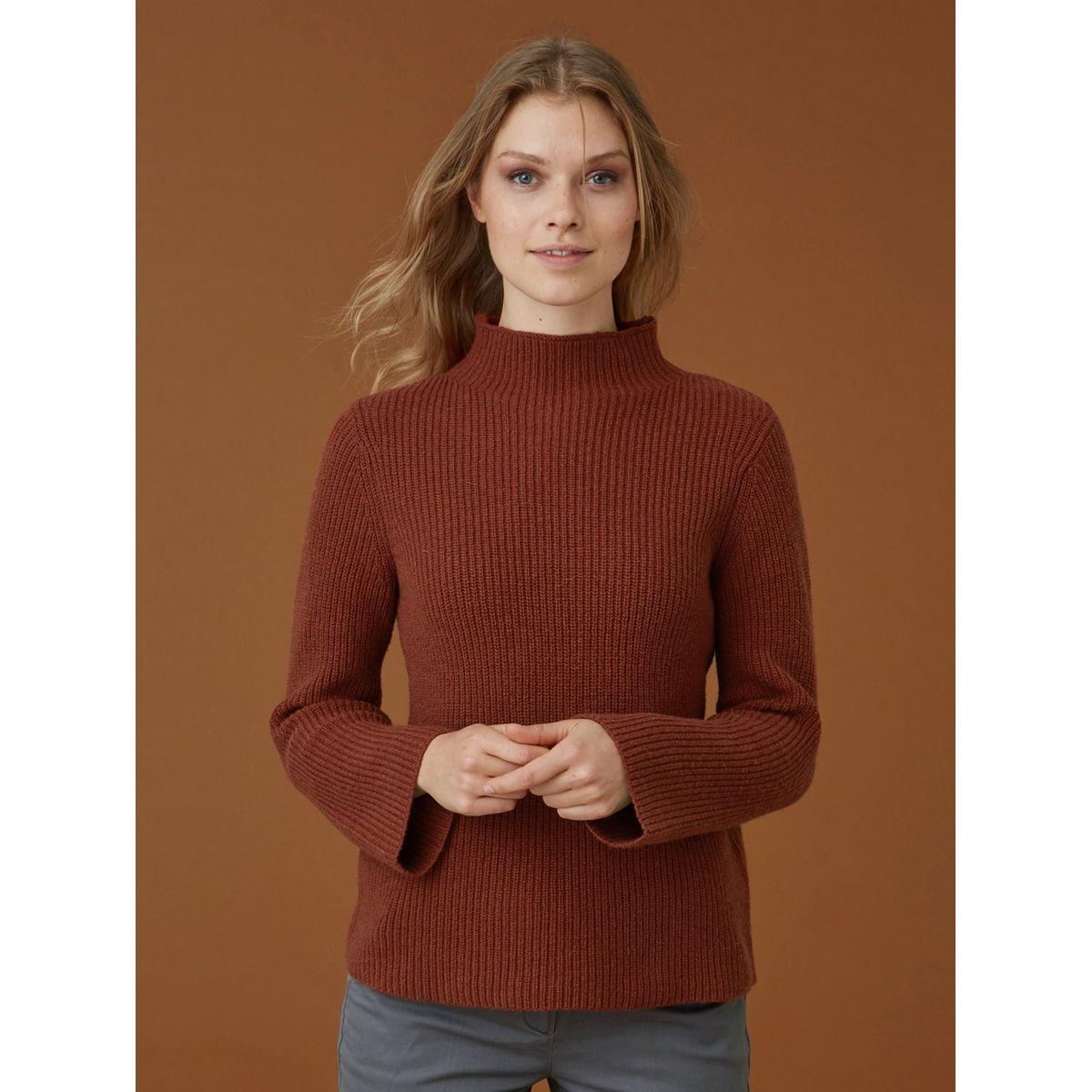 Pull femme col montant coton / laine, MINAGI