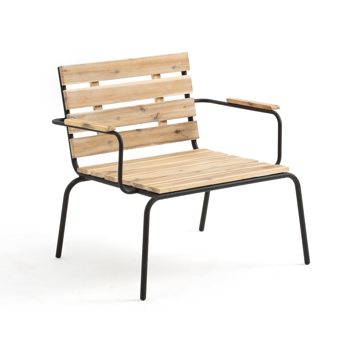 Кресло La Redoute Для сада с подставкой для ног из акации Buckley единый размер бежевый цена 2017