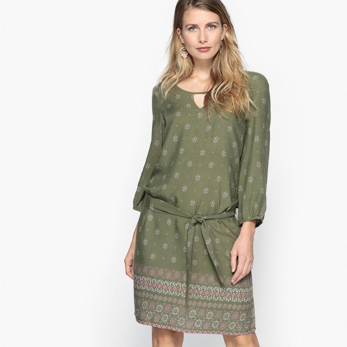 Платье с рисунком и рукавами 3/4 из струящейся ткани платье из струящейся ткани 100% вискозы