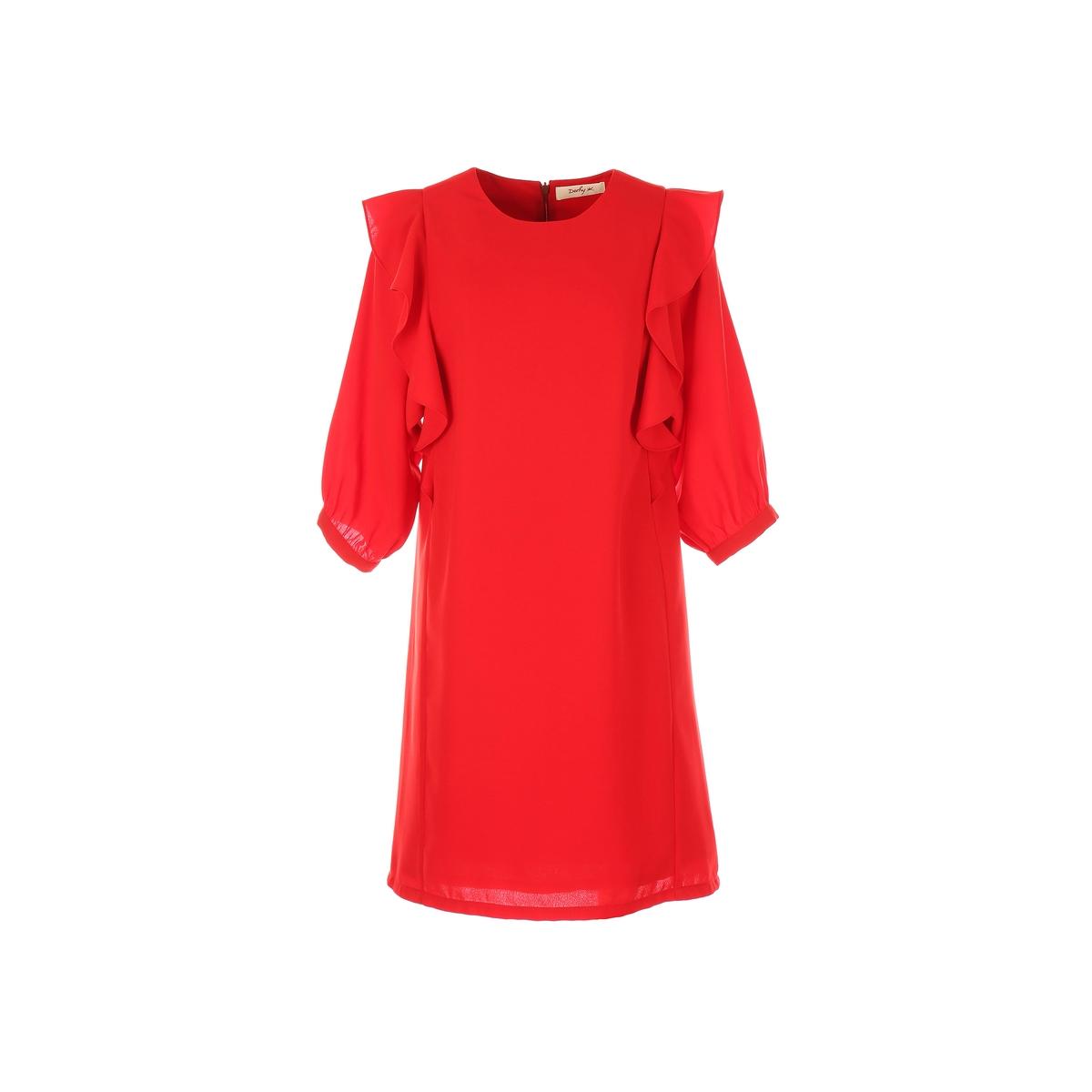 Платье короткое с воланами и рукавами 3/4Детали •  Форма : расклешенная •  Короткое  •  Длинные рукава     •  Круглый вырезСостав и уход •  100% полиэстер  •  Следуйте советам по уходу, указанным на этикетке<br><br>Цвет: красный<br>Размер: L.S