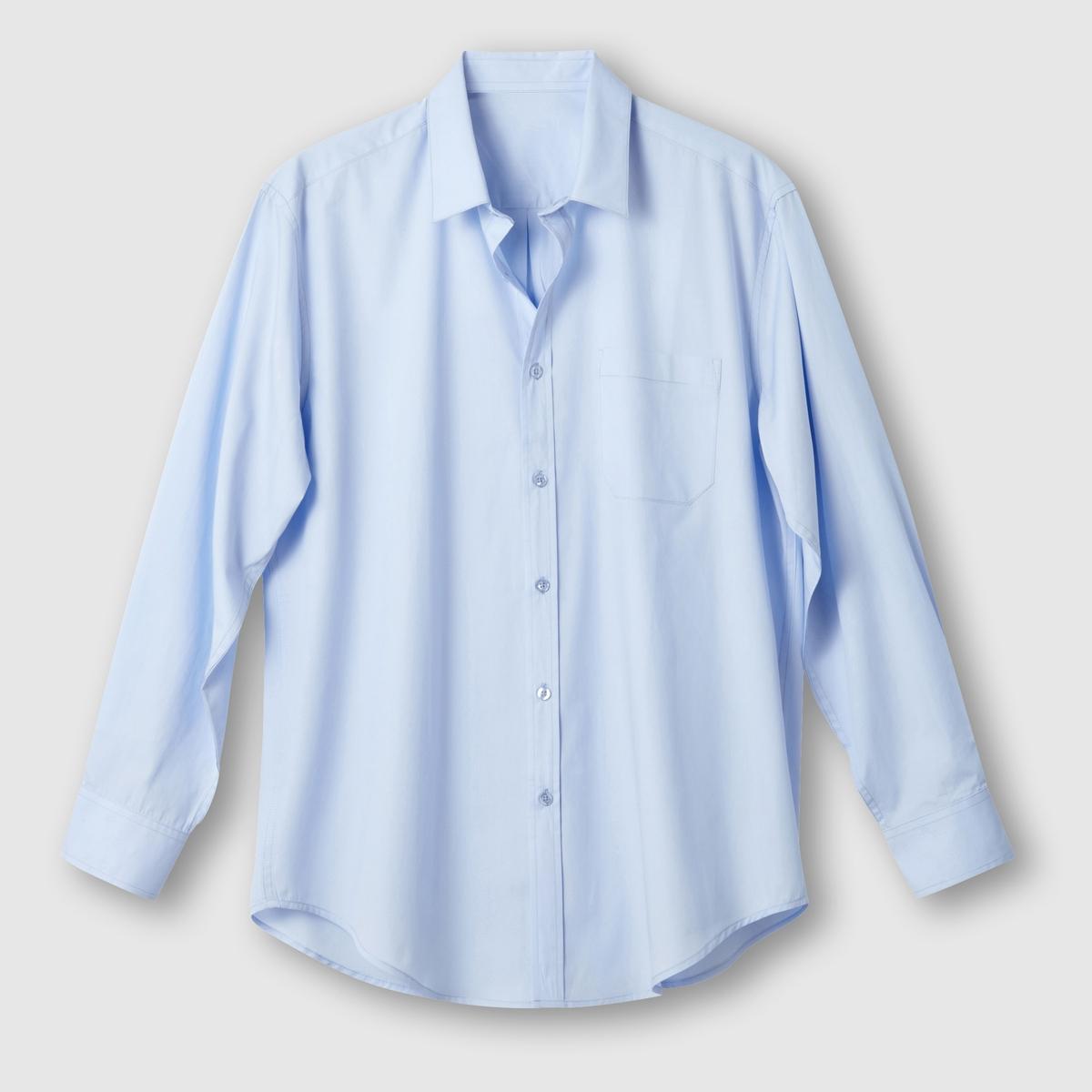 Рубашка однотонная с длинными рукавамиОписание:Детали •  Длинные рукава •  Прямой покрой •  Классический воротникСостав и уход    •  Стирать при 40° •  Любые растворители / не отбеливать   • Барабанная сушка на слабом режиме       • Средняя температура глажки Товар из коллекции больших размеров •  Длина: 86 см<br><br>Цвет: голубой,синий морской<br>Размер: 45/46.49/50.51/52.55/56.41/42