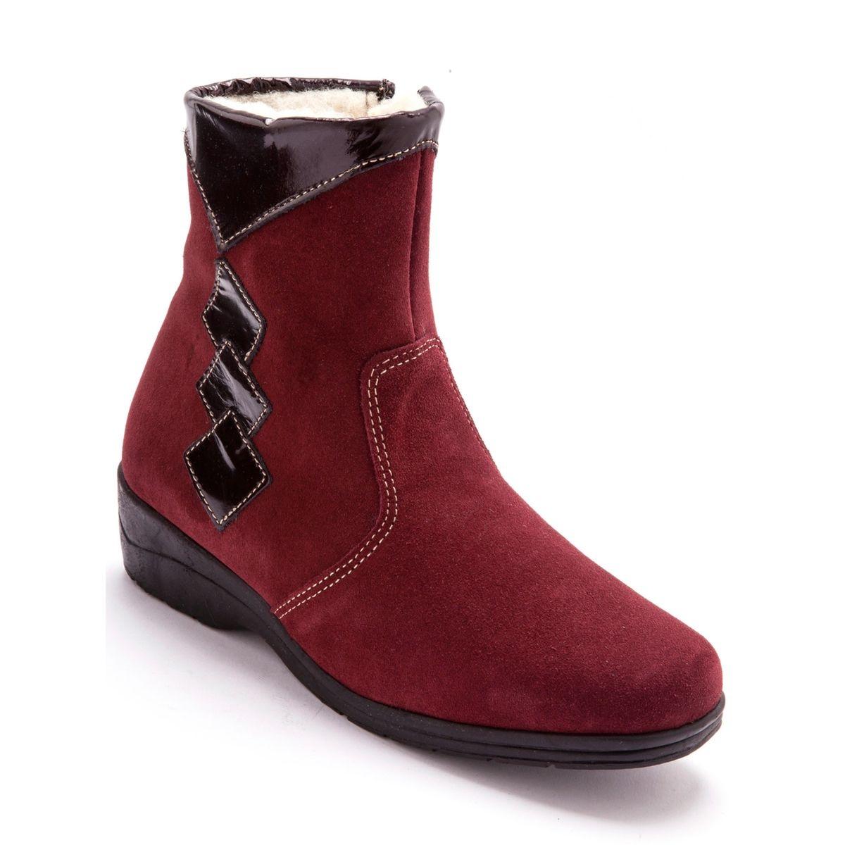 Boots en cuir, fourrés pure laine