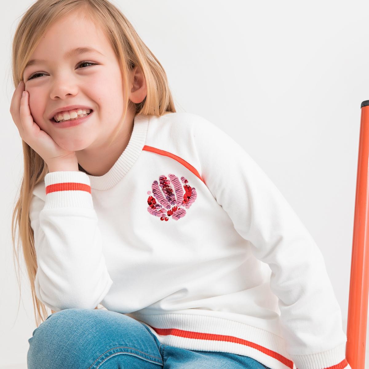 Свитшот La Redoute С круглым вырезом и рисунком с блестками 3 года - 94 см бежевый футболка la redoute с круглым вырезом и принтом спереди 3 года 94 см серый