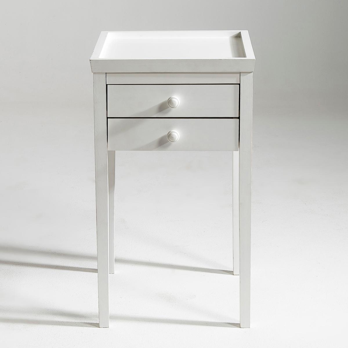 Прикроватный столик Alex, 3 варианта отделкиХарактеристики :- Из массива сосны без обработки под покраску, покрытие нитролаком белого или светло-серого цвета.- Мебель под окраску. Для оптимального результата рекомендуем сначала покрыть нашу мебель грунтовкой, а после нанести 1-2 слоя краски. Описание :- 2 ящика- Данная модель легко собирается, инструкция по сборке прилагается. Размеры  :- Шир. 40 x Выс. 70 x Гл. 40 см.- Размеры ящика : Шир. 30 x Выс. 5,5 x Гл. 27,5 см.- Вес : 6,9 кгРазмеры и вес упаковки :- Шир. 97 x Выс. 9,5 x Гл. 46 см, 8,5 кг<br><br>Цвет: белый,под покраску,светло-серый