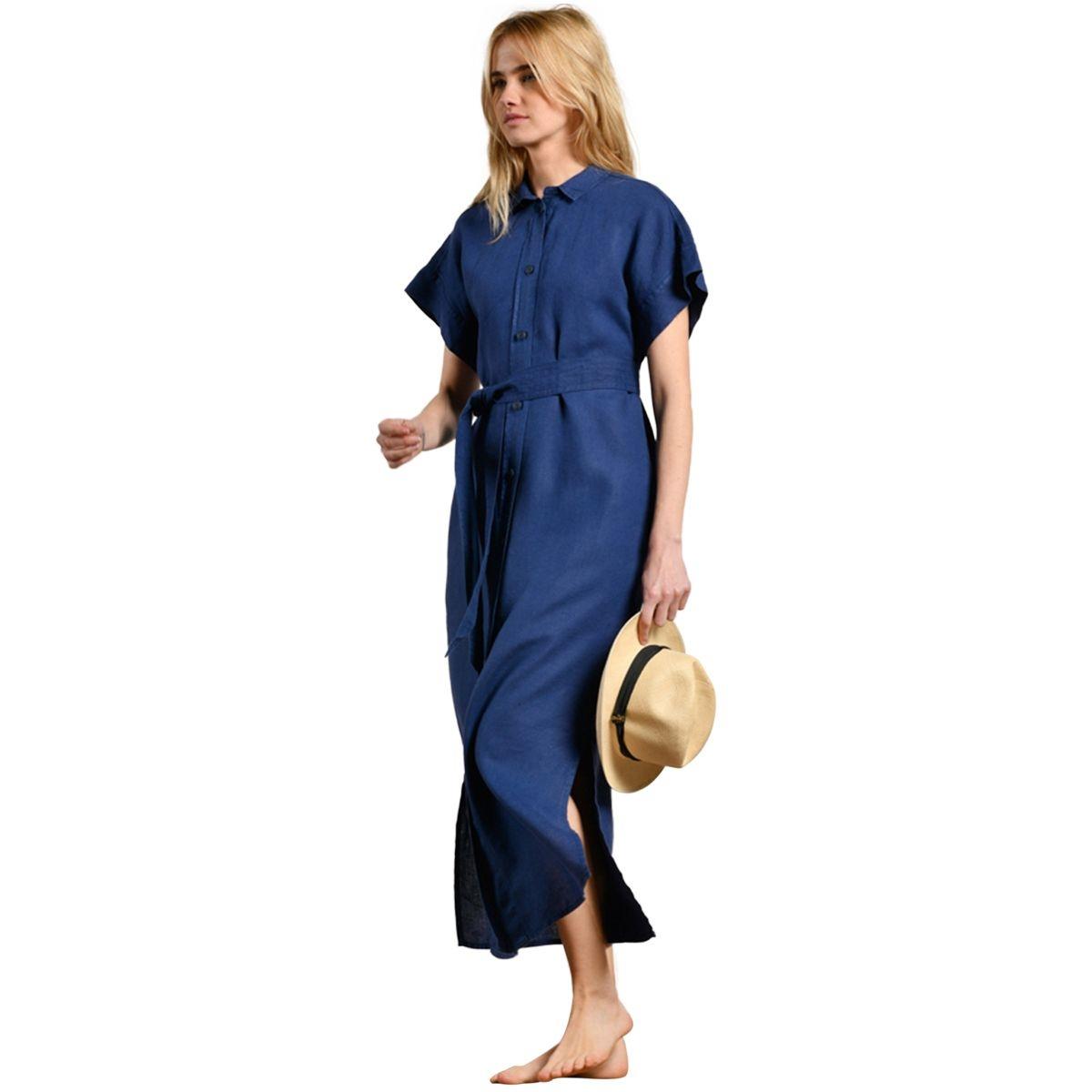 Robe chemise longue à ceinture REALTO