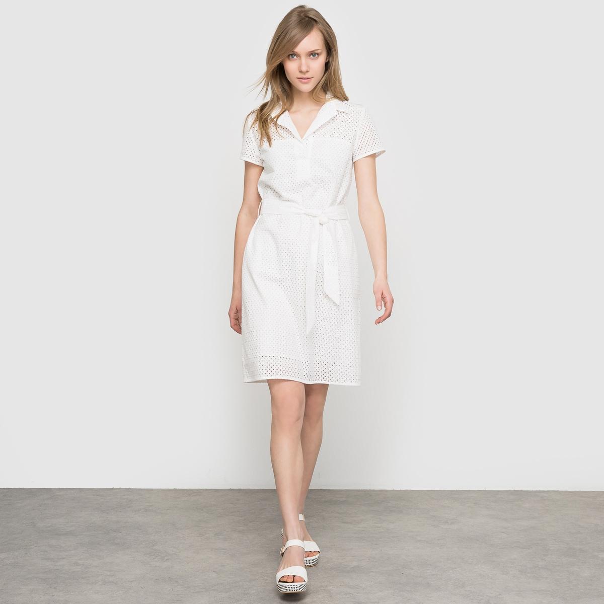 Платье-футляр с английской вышивкойПлатье-футляр с английской вышивкой, короткие рукава. Рубашечный воротник. Пояс завязывается, со шлевками. Застежка на пуговицы в тон. Длина 95 см.                                                                               Состав и описание                                                      Материал: 100% хлопка                                                      Подкладка: 100% хлопка                Уход                                                     Машинная стирка: при 40°С                                                                                      Гладить: с изнаночной стороны<br><br>Цвет: экрю<br>Размер: 46 (FR) - 52 (RUS).42 (FR) - 48 (RUS)