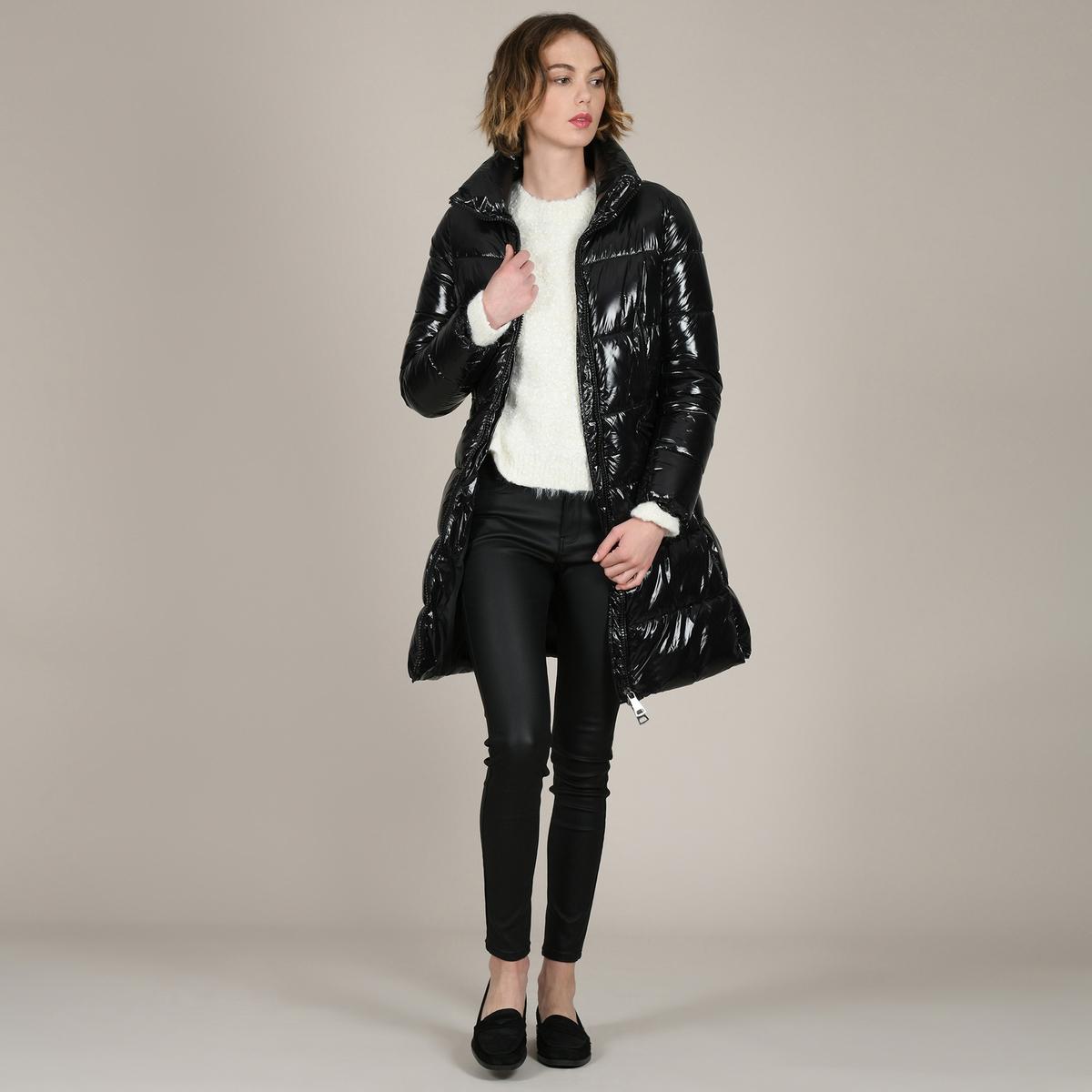 цена Куртка La Redoute Стеганая длинная воротник-стойка M черный онлайн в 2017 году