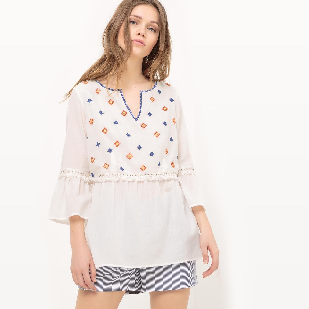 Блузка из хлопка с вышивкой и широкими рукавами