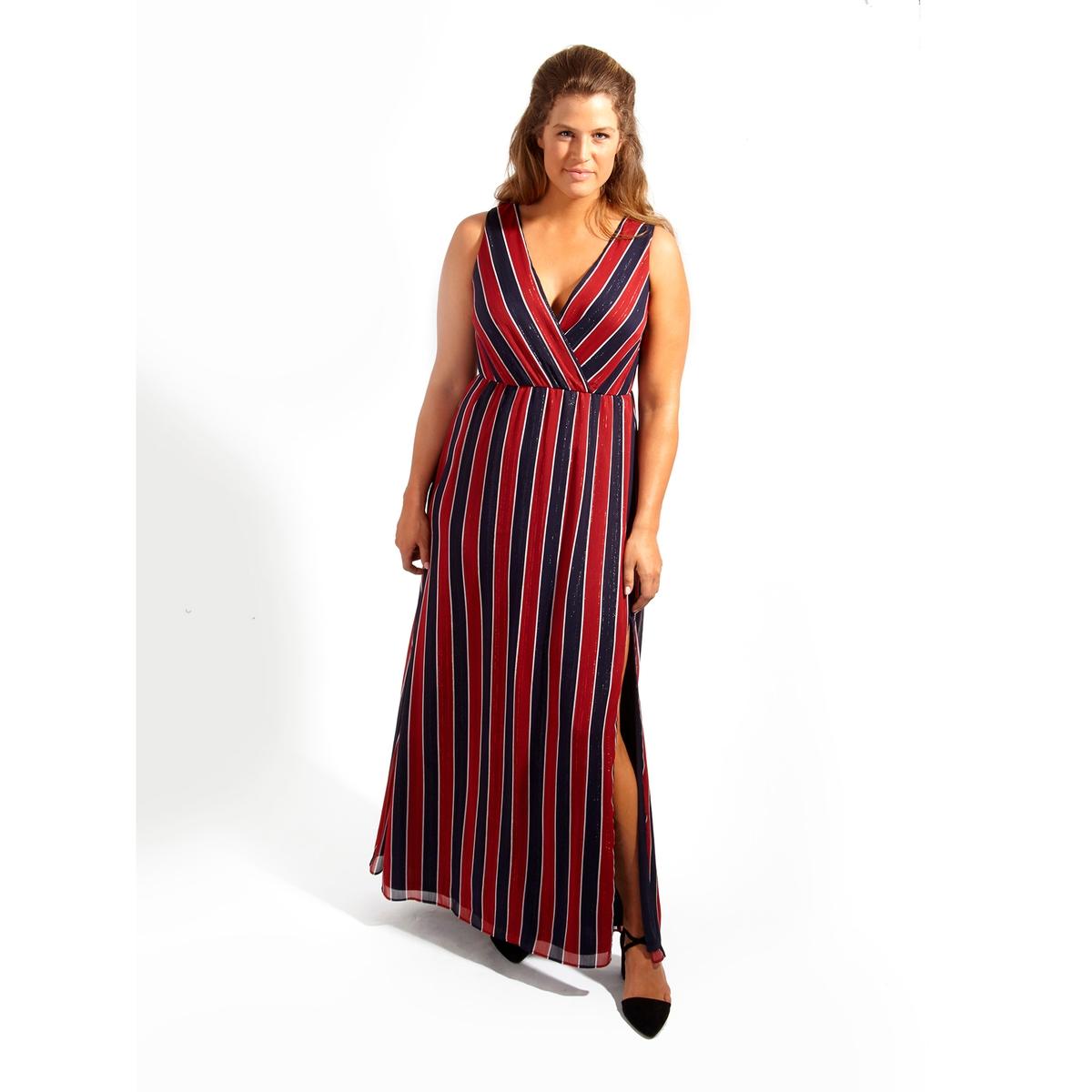 ПлатьеПлатье длинное KOKO BY KOKO. Симпатичное платье макси без рукавов с разрезом до колена . 100% полиэстер<br><br>Цвет: в полоску