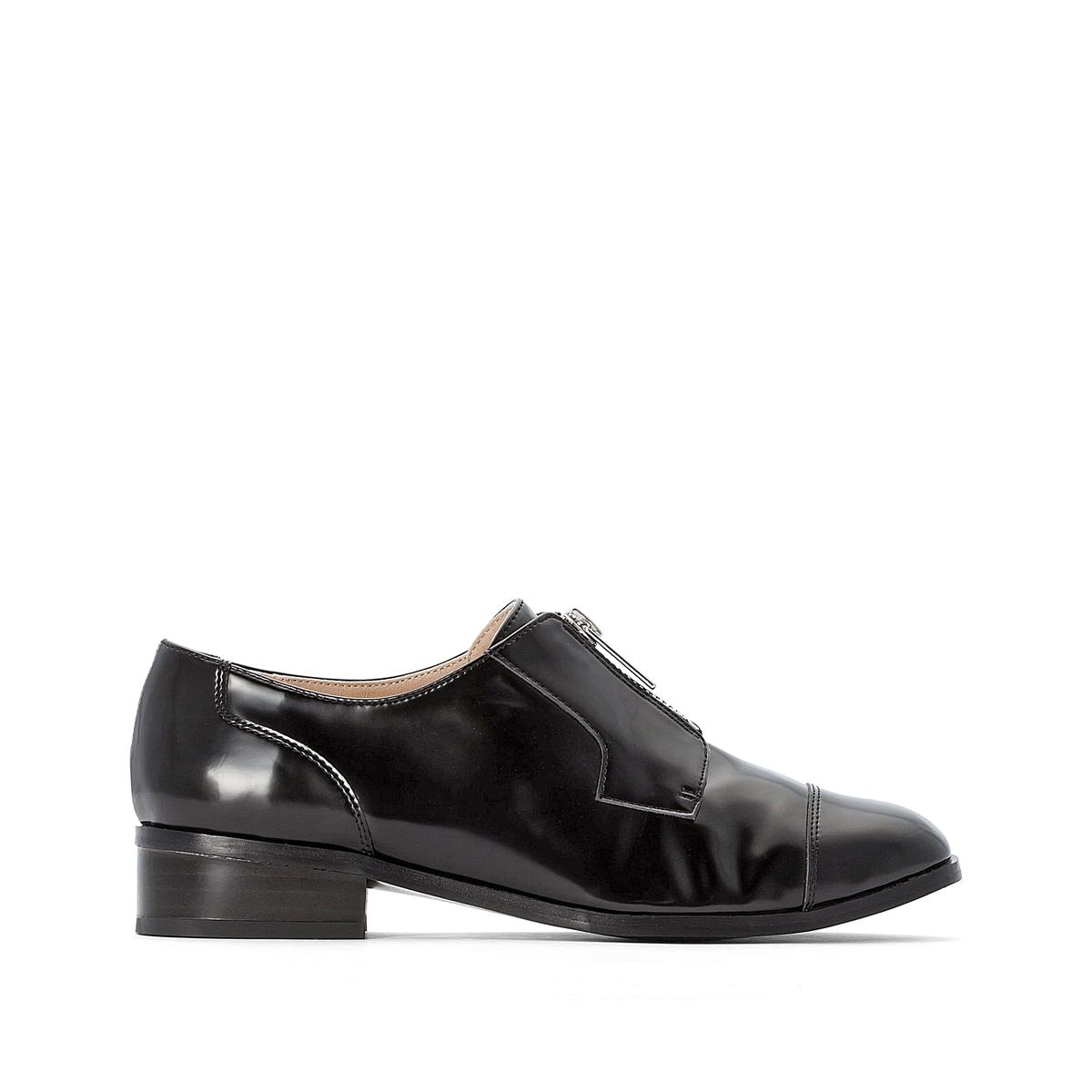цена Ботинки-дерби La Redoute С застежкой на молнию 36 черный онлайн в 2017 году