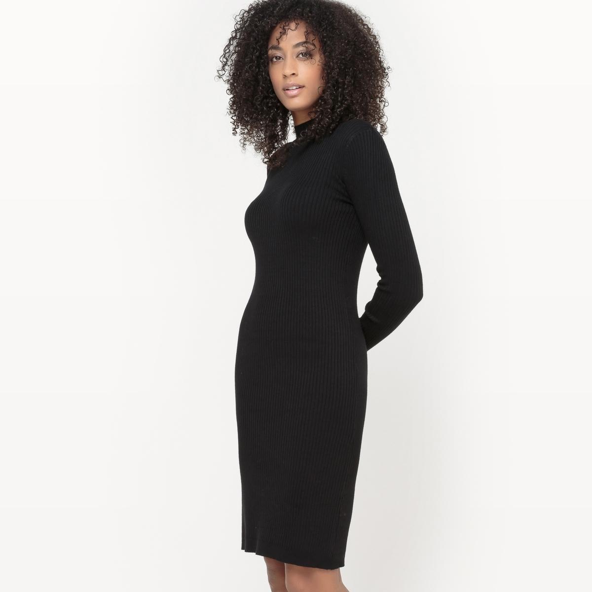 Платье-пуловер с воротником-стойкаПлатье-пуловер из ребристого трикотажа . Длинные рукава. Высокий воротник. Прилегающий к телу покрой.Состав и описаниеМатериал : 80% вискозы, 20% полиамидаДлина : 95 смМарка :      R ?ditionУход: Машинная стирка при 30°C на деликатном режиме Стирать с вещами подобного цвета<br><br>Цвет: бордовый<br>Размер: 46/48 (FR) - 52/54 (RUS)