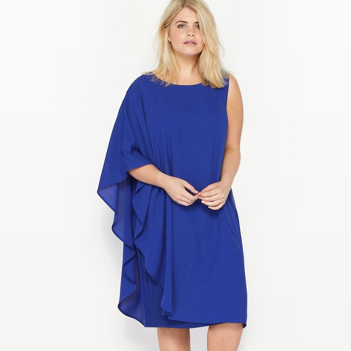 Платье без рукавов асимметричное из двух материалов