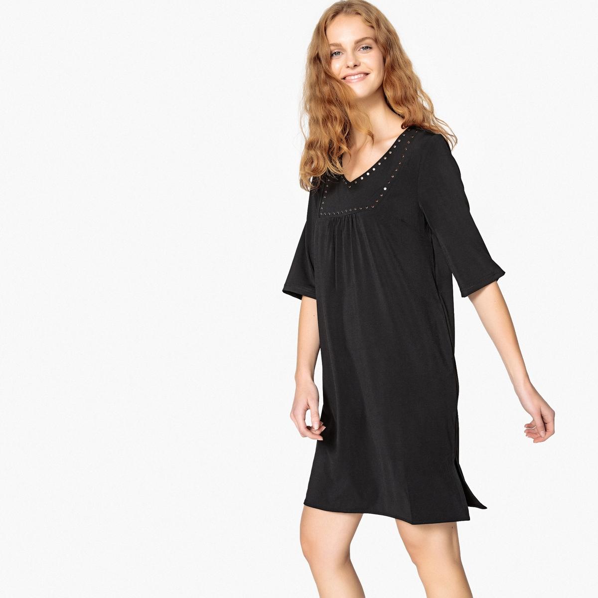 Платье укороченное с заклёпками платье укороченное расклешённое с рисунком рукава 3 4