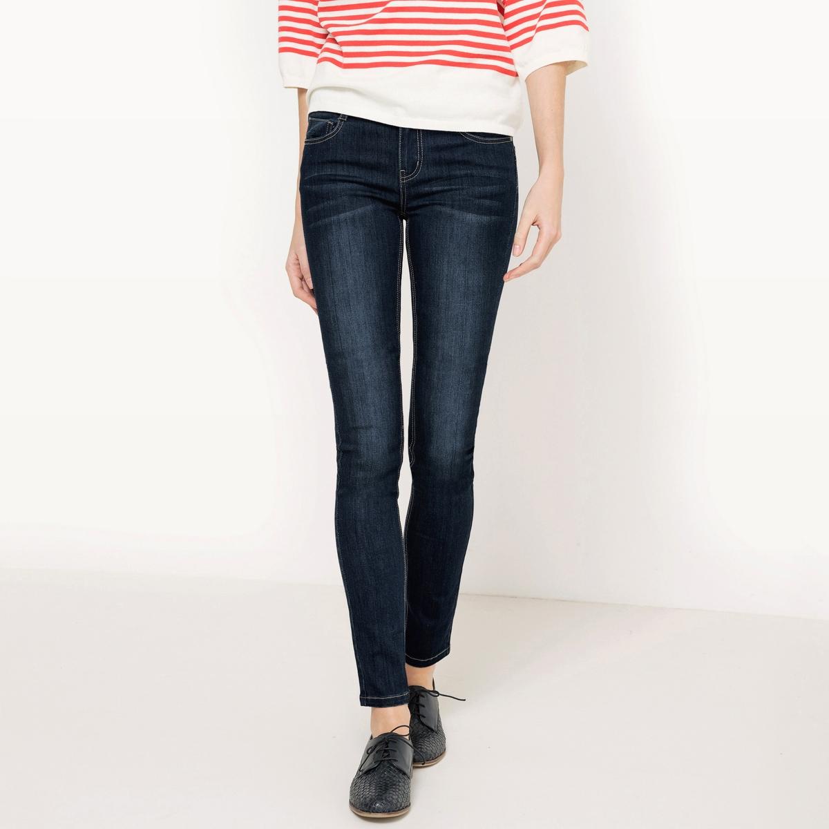 Джинсы узкие с эффектом пуш-апМатериал : 66% хлопка, 2% эластана, 32% полиэстера             Высота пояса : стандартная            Покрой джинсов: узкий Длина джинсов: длина 32              Стирка : машинная стирка при 30 °С            Уход : сухая чистка и отбеливание запрещены            Машинная сушка : запрещена            Глажка : при низкой температуре<br><br>Цвет: синий потертый,темно-синий<br>Размер: 48 (FR) - 54 (RUS).46 (FR) - 52 (RUS).44 (FR) - 50 (RUS).42 (FR) - 48 (RUS).40 (FR) - 46 (RUS).38 (FR) - 44 (RUS)