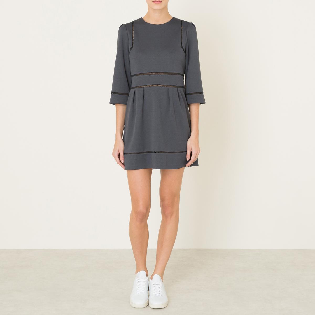 Платье с отделкой мережкойСостав и описание    Материал : 100% полиэстер   Длина : ок. 85 см. (для размера 36)   Марка : SISTER JANE<br><br>Цвет: серый