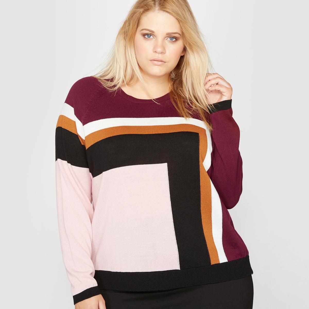 Пуловер с круглым вырезом, рисунок квадраты