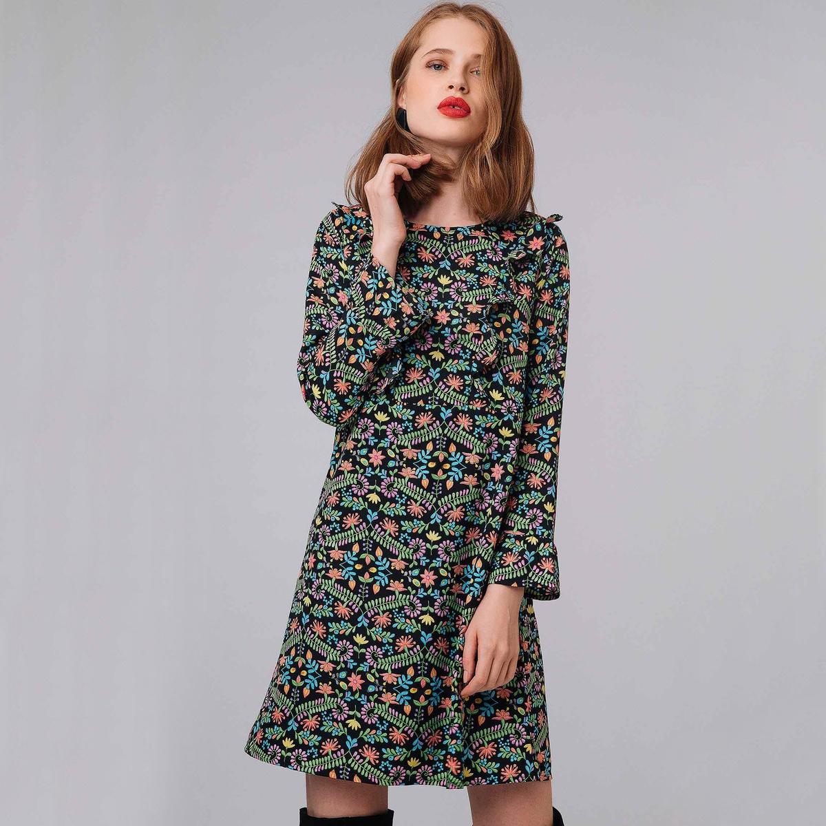 Платье короткое с цветочным принтом и воланами