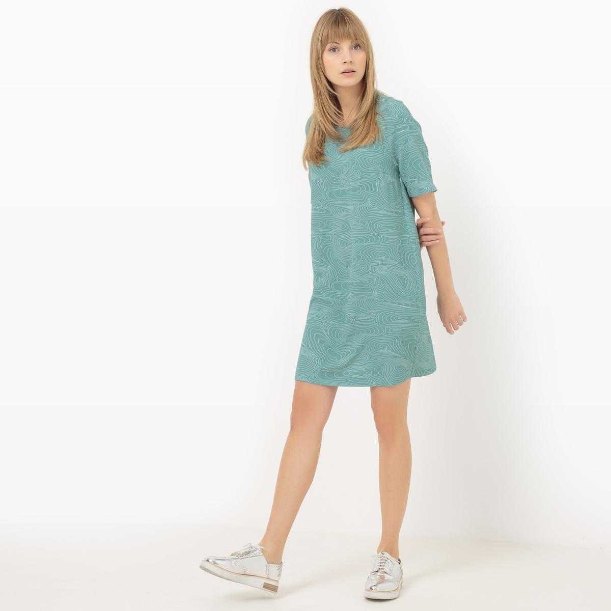 Платье-футляр с графическим рисункомМатериал : 100% полиэстер             Длина рукава : короткие рукава             Форма воротника : Круглый вырез            Покрой платья : платье прямого покроя             Рисунок : графичный              Длина платья : Выше колена, 90см для размера 38            Стирка : Машинная стирка при 30 °С в деликатном режиме            Уход: : Сухая чистка и отбеливание запрещены            Машинная сушка : Машинная сушка запрещена            Глажка : Гладить при низкой температуре<br><br>Цвет: рисунок/зеленый<br>Размер: 52 (FR) - 58 (RUS).44 (FR) - 50 (RUS)