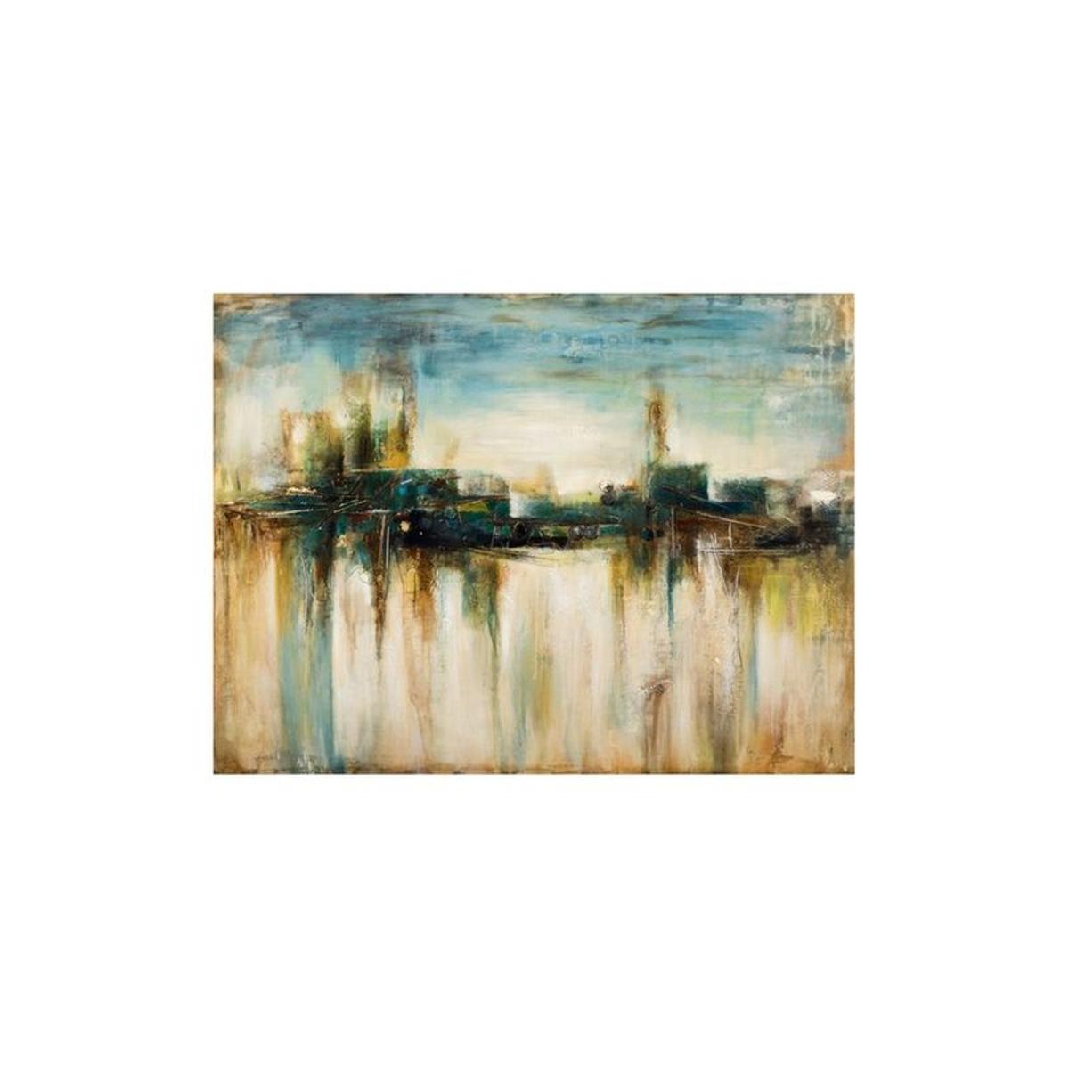Tableau PAYSAGE Abstrait Paysage Urbain tons beiges, jaunes, verts et bleus 90x120cm
