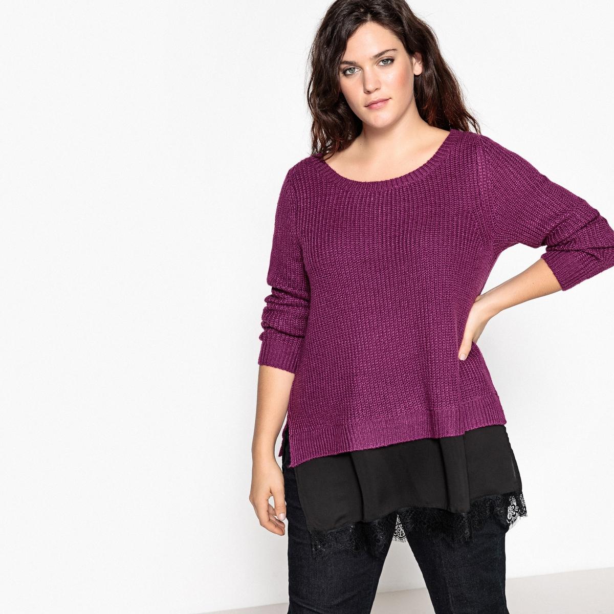 Пуловер из плотного трикотажа с круглым вырезом пуловер из плотного трикотажа с v образным вырезом