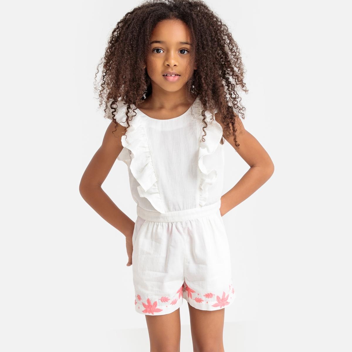 цена Комбинезон La Redoute С воланами спереди с вышивкой 3 года - 94 см бежевый онлайн в 2017 году