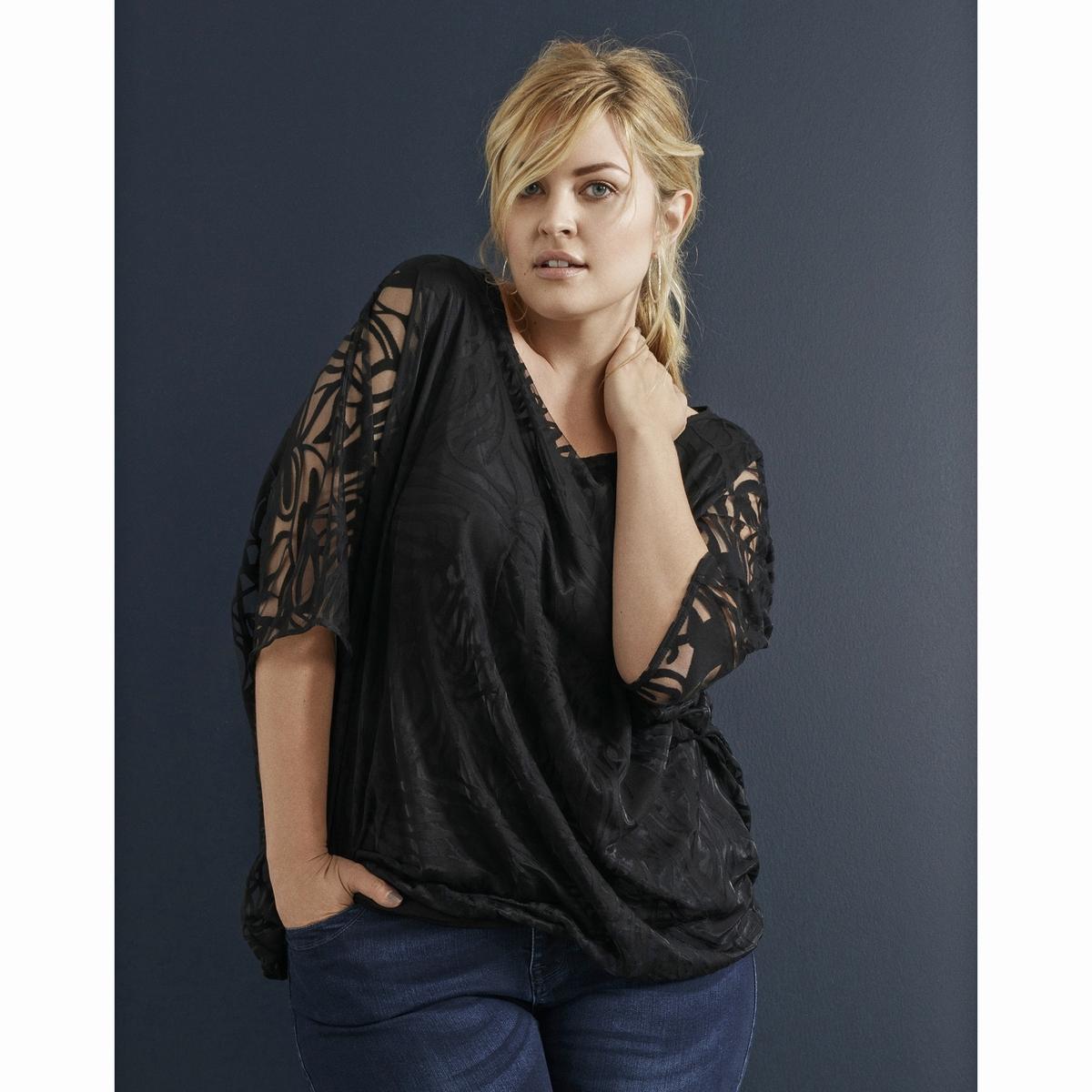 БлузкаБлузка с рукавами летучая мышь ZIZZI. Красивый эффект по всей блузке. Прозрачные карманы. 85% полиэстера, 15% хлопка.<br><br>Цвет: черный