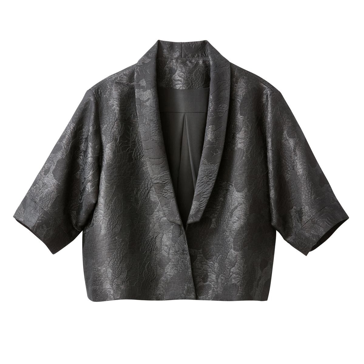 Chaqueta corta con forma kimono de jacquard