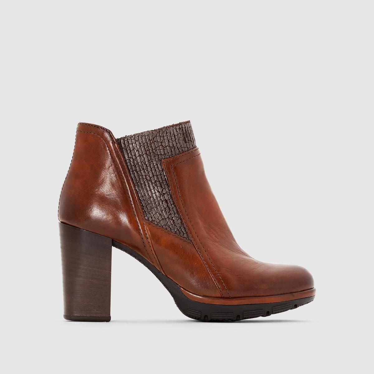 Сапоги из кожи MJUS PASПреимущества : сапоги MJUS в обновленном стиле челси на высоком каблуке, с реликтовым эффектом и кожей с патиной .<br><br>Цвет: коньячный<br>Размер: 40