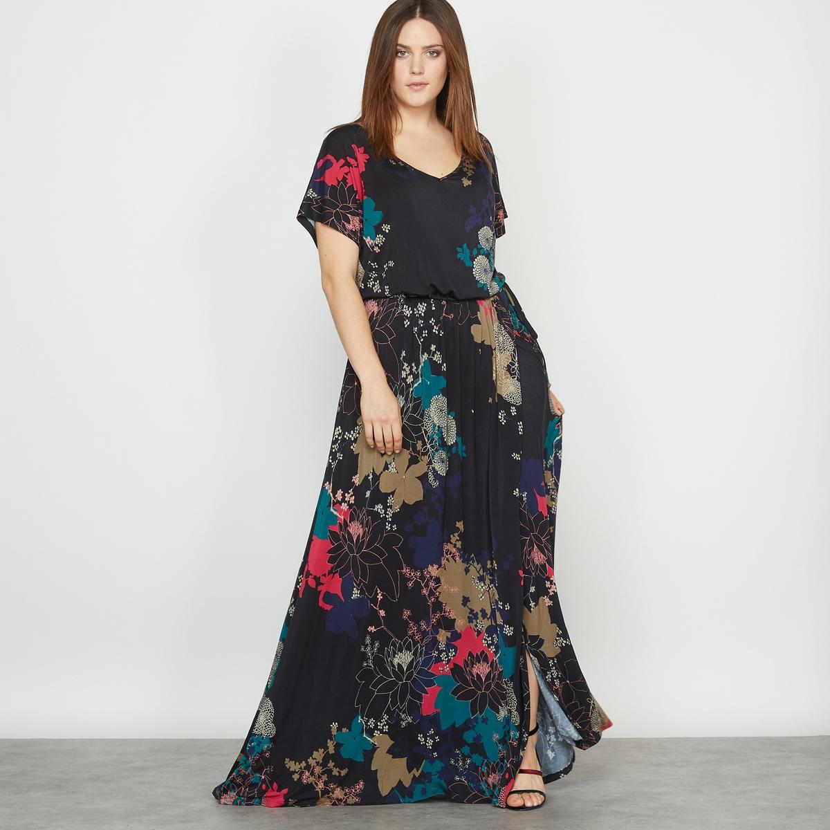 Длинное платье из трикотажа с цветочным рисунком