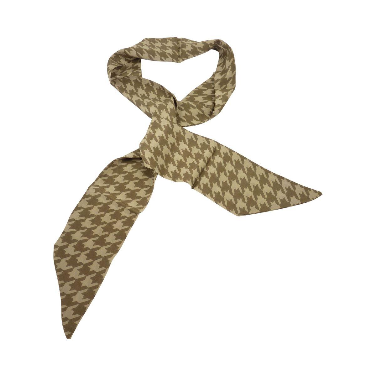 Foulard carre imprime en soie marron femme