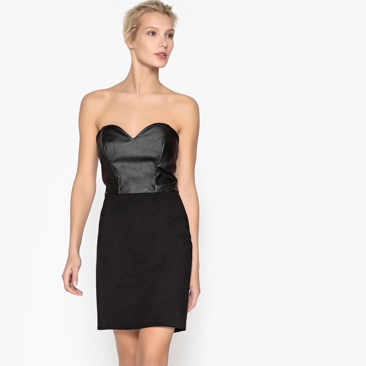 Платье-бюстье из искусственной кожи