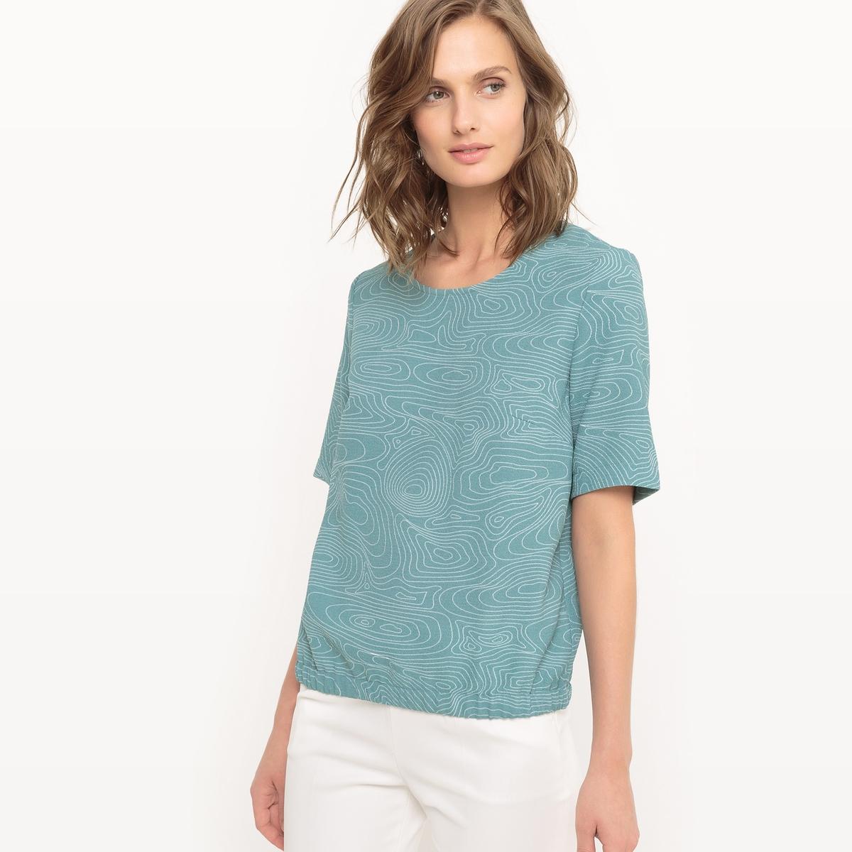 Блузка с графическим рисунком и эластичным поясом блузки linse блузка