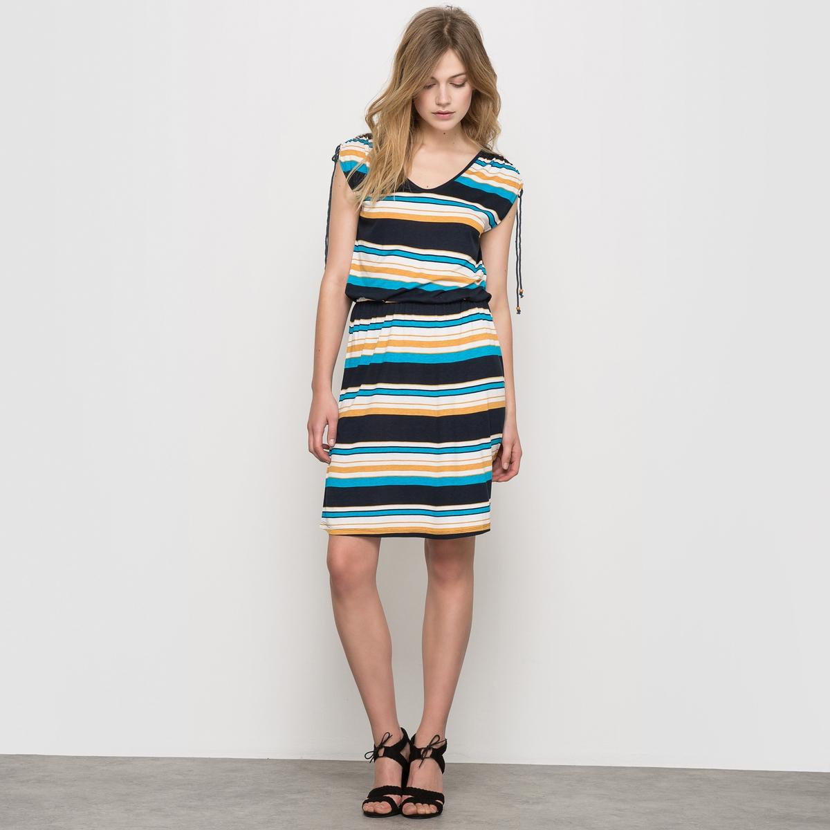 Платье из трикотажаПлатье в полоску V-образный вырез Короткие рукава с регулируемыми завязками  Эластичный пояс Длина: 96 см<br><br>Цвет: в полоску<br>Размер: 50/52 (FR) - 56/58 (RUS)