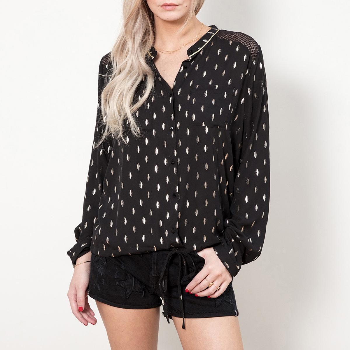 Блузка без воротника с принтом с длинными рукавами