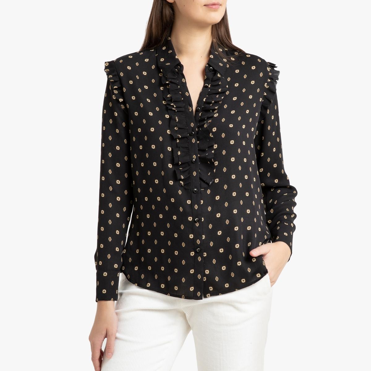 Блузка La Redoute С рисунком и длинными рукавами S черный