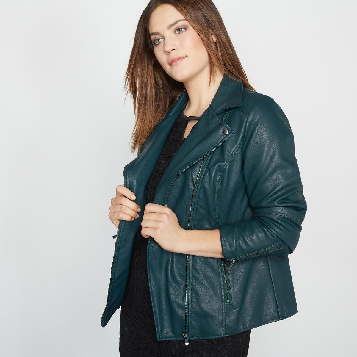 Куртка в стиле мотоциклетной, облегающий покройКуртка. Куртка в стиле мотоциклетной с разрезами, на молнии спереди. 2 кармана с застежкой на молнию. Низ рукавов с молниями. Имитация кожи из 100% вискозы, подкладка из 100% полиэстера. Длина 58 см.<br><br>Цвет: темно-зеленый