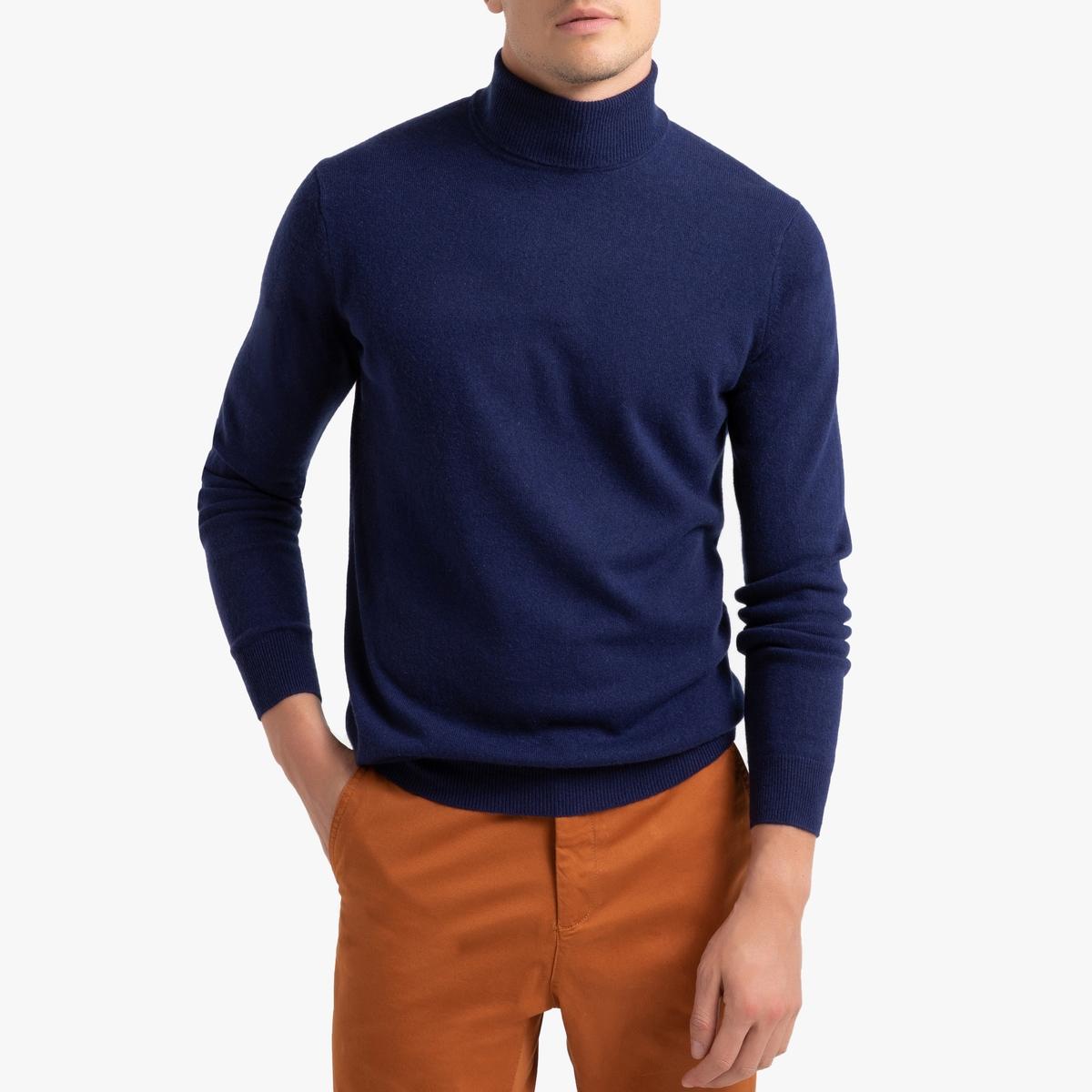 Пуловер La Redoute С отворачивающимся воротником из кашемира Paul S синий ic men коричневый пуловер из кашемира